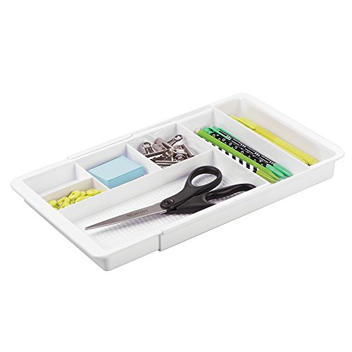 mDesign Expandable Office Supplies Desk Drawer Organizer for Pens, Highlighters, Paper Clips, Sticky Notes - (7 Drawer Executive Desk)