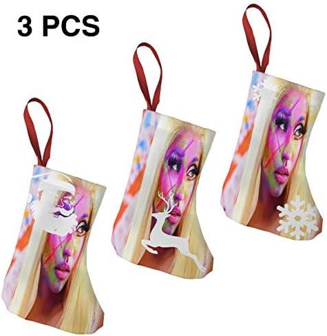 クリスマスの日の靴下 (ソックス3個)クリスマスデコレーションソックス 音楽Nicki Minaj クリスマス、ハロウィン 家庭用、ショッピングモール用、お祝いの雰囲気を加える 人気を高める、販売、プロモーション、年次式