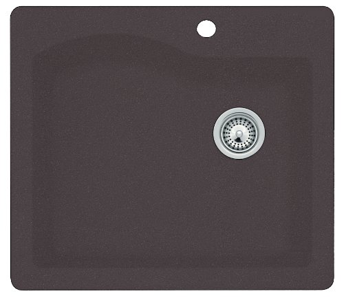 Swanstone QZSB-2522.077 25-Inch by 22-Inch Drop-In Single Bowl Kitchen Sink, Nero