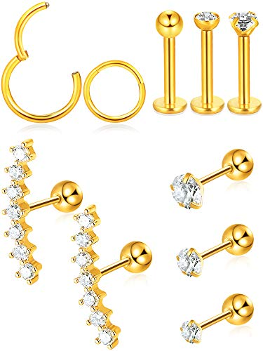 Blulu 10 Pieces Cartilage Tragus Earrings Set Labret Studs Barbell Earring CZ Inlaid Steel Ear Ring for Tragus Lip Nose Ears Body Jewelry, 10 Types (Gold) ()