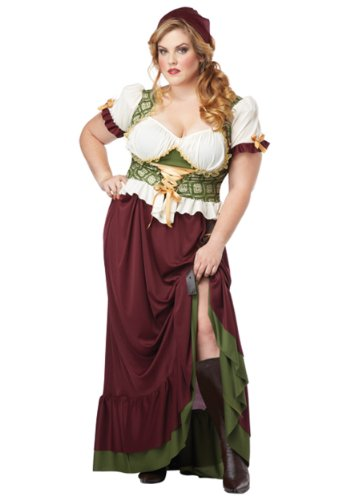 California Costumes Women's Plus-Size Renaissance Wench Plus, Burgundy/Green, 1X