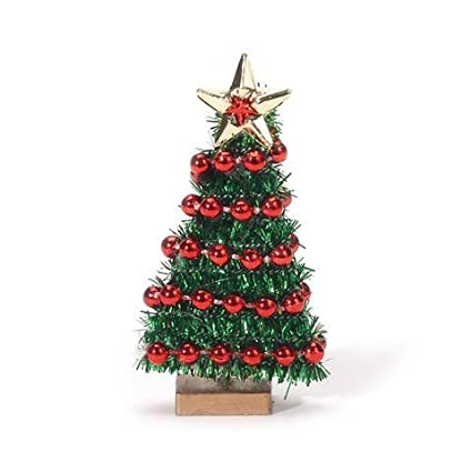 miniature christmas tree with bead garland 2 34 inches