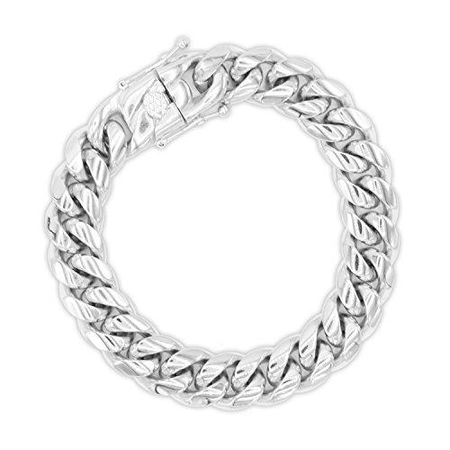 Cuban Link Bracelet Silver Miami Cuban Chain Stainless Steel Fashion Men Women Jewelry14 mm Width 30