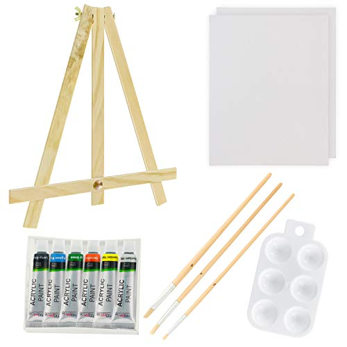 (U.S. Art Supply 13-Piece Acrylic Artist Painting Set with Mini Table Easel, Canvas Panel, Brushes &)