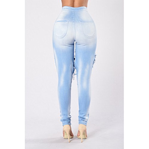 Blue Light Ripped Denim Donna Zhhlaixing Cotton Cool Holes High Trouser Ladies Stretch Waist Jeans TOBBZw7q