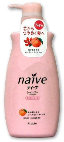 KRACIE Naive Shampoo Peach Pump Moist, 0.5 Pound by Kracie