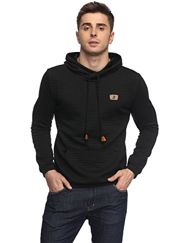 HEQU Men's Casual Funnel Neck Square Pattern Quilted Hoodie Pullover Sweatshirt with Kangaroo Pocket Black - Squares Pullover
