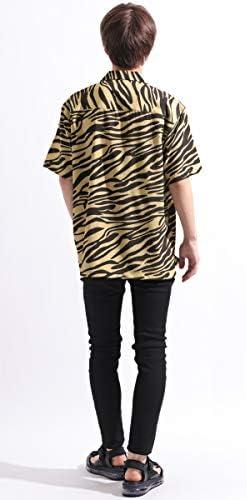 ゼブラ柄 半袖 オープンカラーシャツ ストレッチ ビッグ ワイド ストリートモード リゾート 夏 メンズ