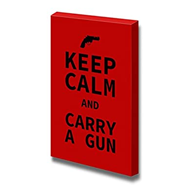 Premium Creation, Charming Composition, Keep Calm and Carry a Gun Wall Decor Stretched
