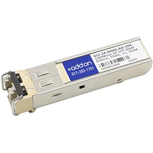 Add-On Computer Products AddOn 5-Pack of Cisco GLC-SX-MMD Compatible TAA Compliant 1000Base-SX SFP Transceiver (MMF, 850nm, 550m, LC, DOM)