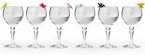 Multicolor Set of 6 Unusual Wine Glass Identifiers Wine Charms Hummingbird Glass Marker by Qualy Design Studio Unique Bird Wine Glass Markers.