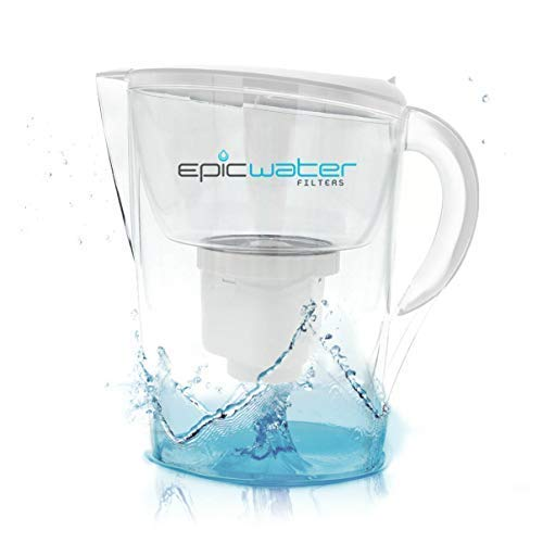 Epic Pure Water Filter Pitcher | 3.5L | 150 Gallon Filter | 100% BPA-Free | Removes Fluoride, Lead, Chromium 6, PFOS PFOA, Heavy Metals, Pesticides, Chemicals, Industrial Pollutants & More (White)