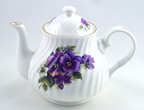 Staffordshire Cottage (Crown Trent of England - 811961016708Fine English Bone China Teapot - Pansy Swirl Chintz)