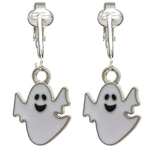 Fun Halloween Clip On Earrings for, Women-Witch Hats, Ghosts, Candy Corn, Pumpkins- Unpierced (Spooky Ghosts) -