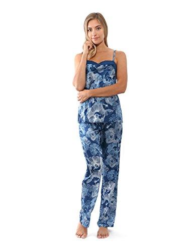 JONES NEW YORK Women's Satin Pajama Set Sleeveless Satin Sleepwear with Pants (X- Large)