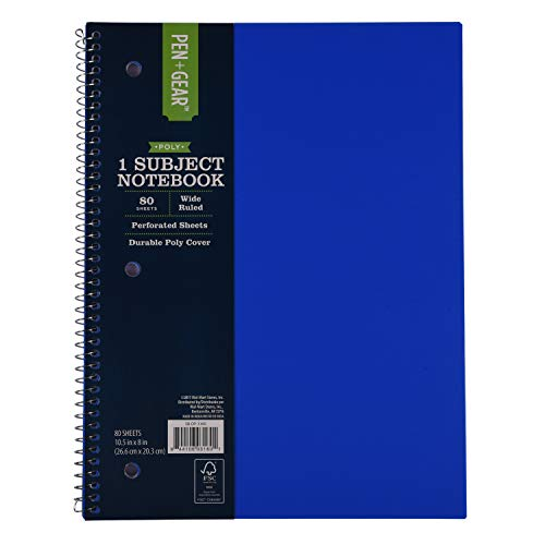 - 1-Subject Spiral Notebook, 80 Sheets, 8