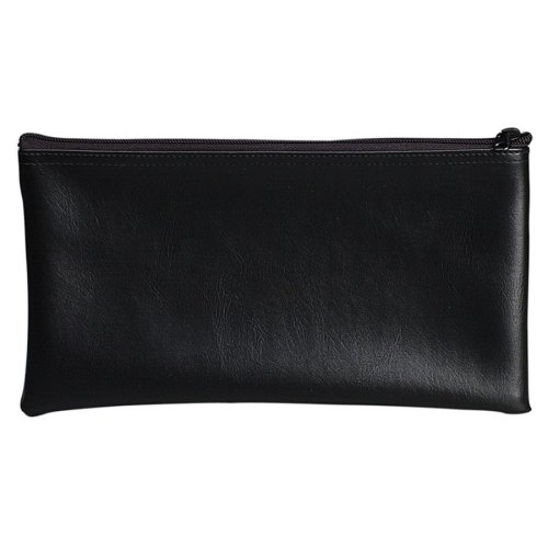 Wholesale CASE of 25 - PM Company Vinyl Zipper Coin Bags-Zipper Coin Bag, Water-Resistant, Vinyl, 11''x6'', Black