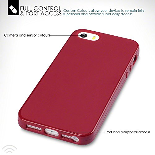 iPhone SE Funda Protectiva de Silicona Gel TPU estrecha - Rojo oscuro acabado mate