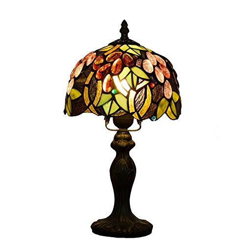 EuSolis E26 Tiffany Traditional Bedside and Table Lamps Handcrafted 8 Inch Flowers Stained Glass Luxury Bedside Lamps European Lamps for Living Room Bedroom Vintage 01 by EuSolis (Image #5)