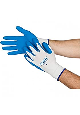 Task Gloves (1 Dz) Latex Palm Coated White 100% Polyester Knit Shell Gloves - S-XXL