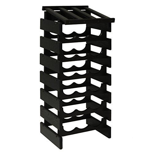 Wooden Mallet Black 21 Bottle Dakota Wine Rack with Display Top,