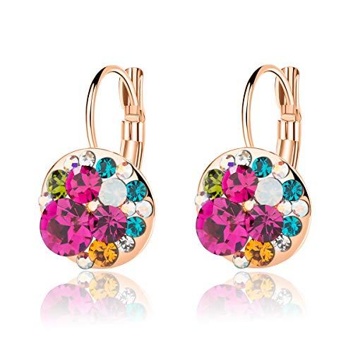 Multicolored Swarovski Crystal Earrings for Women Girls 14K Gold Plated Leverback Dangle Hoop Earrings (Rose Main Crystal/Rose Gold-tone)