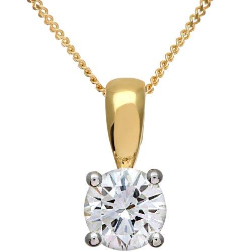 Revoni-Pendentif diamant solitaire en or jaune 18carats Diamant rond brillant certifié H/SI Pendentif, 0,75carats Poids du Diamant