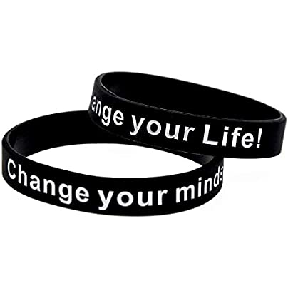 Relddd Silicone Wristbands With Sayings Change Your Mind Set Change Your Life Rubber Wristbands For Men Encouragement Set Pieces Estimated Price £25.99 -
