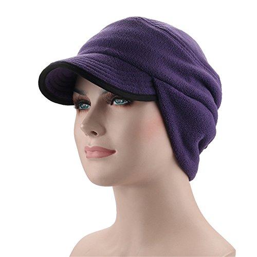 (Leories Winter Windproof Cap Outdoor Warm Fleece Earflap Hat with Visor Light Purple)