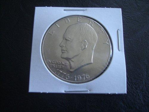 1976 P IKE Eisenhower Bicentennial Dollar Coin in Cardboard 2X2 Holder