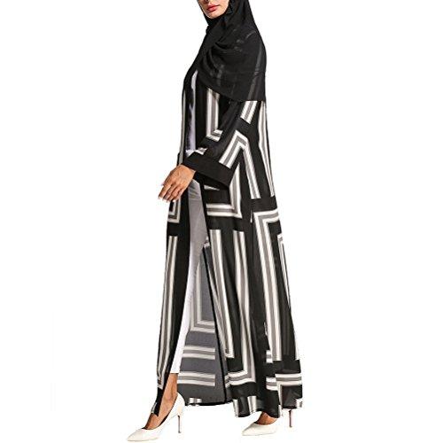 Zhuhaitf Couleur Mixte Confortable À Manches Longues Ramadan Abaya Islamic Robe Maxi Robes Arab Dubai Robes Noires Et Gris