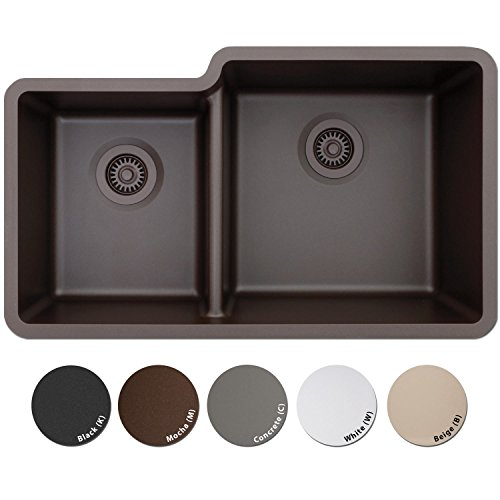 LEXICON Platinum Offset Double Bowl Quartz Composite Kitchen Sink Mocha (Mocha Kitchen Sink)