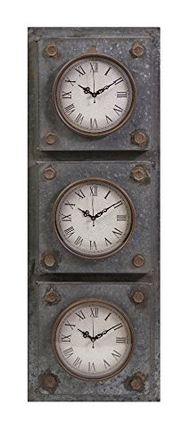 IMAX 74236 Gilbert Galvanized Triple Clock