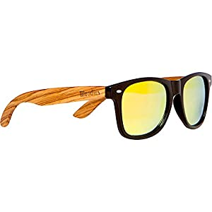 WOODIES Zebra Wood Sunglasses with Gold Mirror Polarized Lens