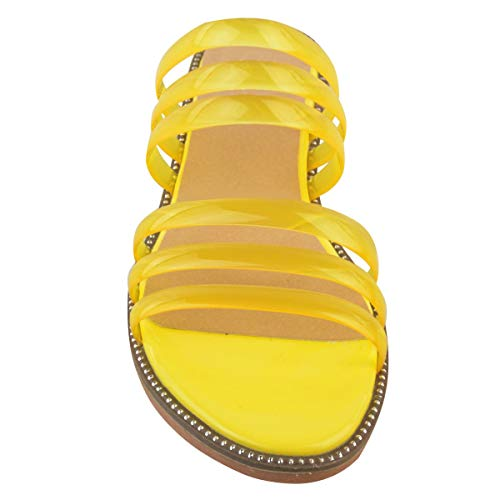Claro Heelberry Sandalias Por Plano Gel Bajo Fashion Playa Verano Tiras Vacaciones Tacón Perspex Amarillo Charol Mujer Thirsty xCwpCgqz4