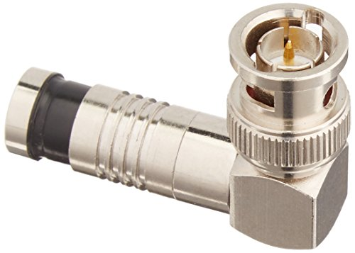 Platinum Tools 18040 BNC RG6 RA Compression, Nickel 3/Clamshell, Pack of - Compression Right Connector Angle Bnc