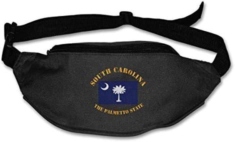 サウスカロライナ州の国旗ザパルメットステートユニセックスアウトドアファニーパックスポーツベルトバッグスポーツウエストパック