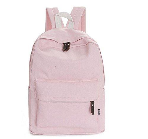 Heheja Lona Escolares Mochila Color Sólido Viaje Mochila Ocio Deportes Bolsa Pink