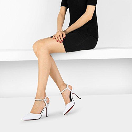Chaussures à talons hauts - Rainbow 2018 Nouveau, 10cm Sandales Stiletto Blanc Baotou High Heels (Couleur : Noir, taille : 39) Blanc