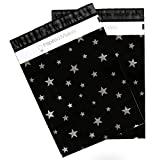 Poly Mailers 10x13 - DELUXE Silver Stars Print - Premium Unpadded Shipping Envelopes - Pack of 100