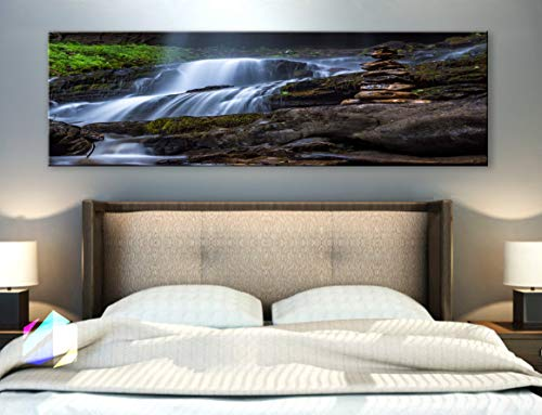 - BoxColors - Single panel 3 Size Options Art Canvas Print cascade creek landscape nature river rocks stream water waterfall woods tropical relax Wall Home Office decor (framed 1.5