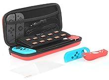 AmazonBasics - Kit de protección para Nintendo Switch, con funda de transporte y protector de pantalla de cristal templado - Rojo