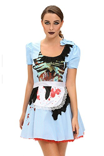[Beatifully Qearl women sex Zombie Kansas Girl Adult Halloween Costume as shown S] (Zombie School Girl Adult Womens Costumes)