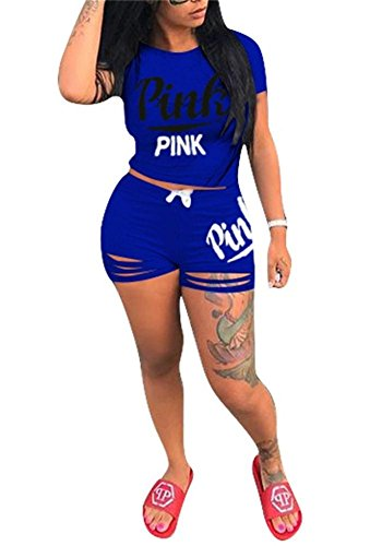 VLUNT Womens Letter Print Outfits Short Sleeves T Shirt and Short Pants 2 Piece Set Tracksuits (899-Blue, XL)
