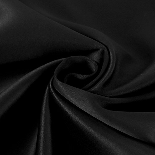 Deconovo Solid Back Tab and Rod Pocket Blackout Curtains Thermal Insulated Drapes and Curtains for Kids Bedroom 52x95 Inch Black Set of 2 Panels