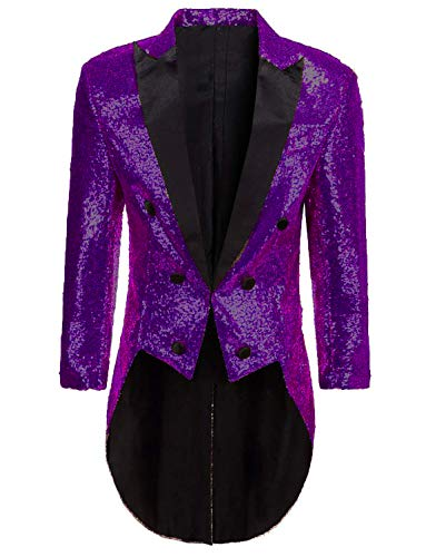Mens Tailcoat Jacket Costume Halloween Purple Glitter Sequins Blazer Jacket for Circus