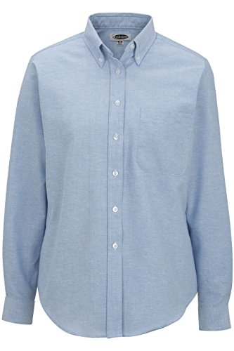 Ladies' Long Sleeve Oxford Shirt 5077 S Blue by Edwards for Elliesox ()