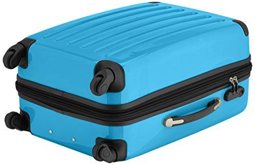 HAUPTSTADTKOFFER - Alex - 2er Koffer-Set Hartschale glänzend, 65 cm + 55 cm, 74 Liter + 42 Liter, Graphit-Blau Champagner-cyanblau