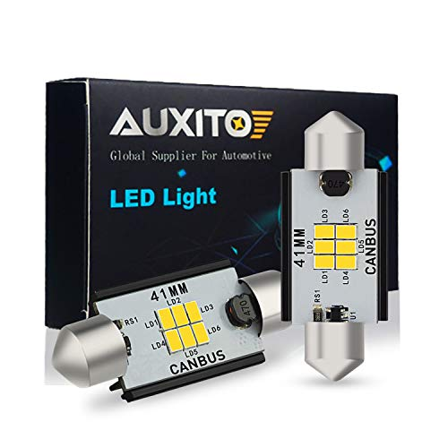 AUXITO 578 LED Bulbs 400 Lumens Canbus Error Free 211-2 212-2 41MM 42MM Festoon LED Bulbs for Dome Light Interior Car License Plate Map Door Courtesy Lights Xenon White, Pack of 2,auxito