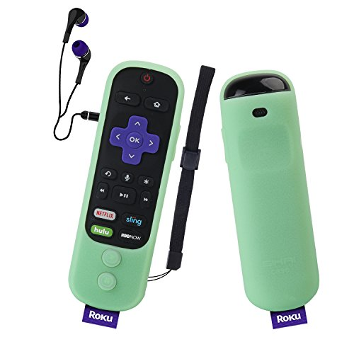 Glow Remote - Roku Ultra Remote Case SIKAI Silicone Protective Cover For Roku Ultra with Power Button Remote (2017) Shockproof Anti-Slip Anti-Lost With Hand Strap (Luminous Green)
